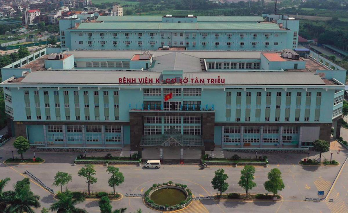 Bệnh viện K Tân Triều, nơi phát hiện 11 ca bệnh tính đến chiều 7/5. Ảnh: Ngọc Thành.