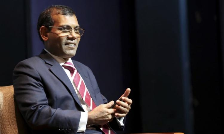 Cựu tổng thống Maldives Mohamed Nasheed trong một sự kiện về biến đổi khí hậu ở New Delhi, Ấn Độ, hồi tháng 2/2019. Ảnh: AP.