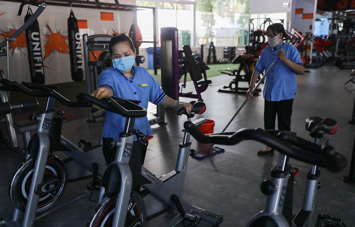 Phòng gym ở TP HCM bị đóng cửa trong đợt bùng dịch, ngày 9/2. Ảnh: Quỳnh Trần.