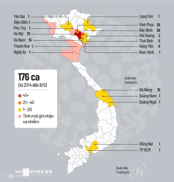 Các tỉnh, thành có ca nhiễm Covid-19 tính đến sáng 8/5. Đồ họa: Tiến Thành.