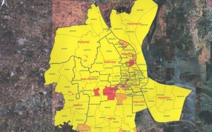 Các khu vực đánh dấu đỏ, cam, vẫn áp đặt một số quy định như thời gian phong tỏa. Ảnh: Chính quyền Phnom Penh.