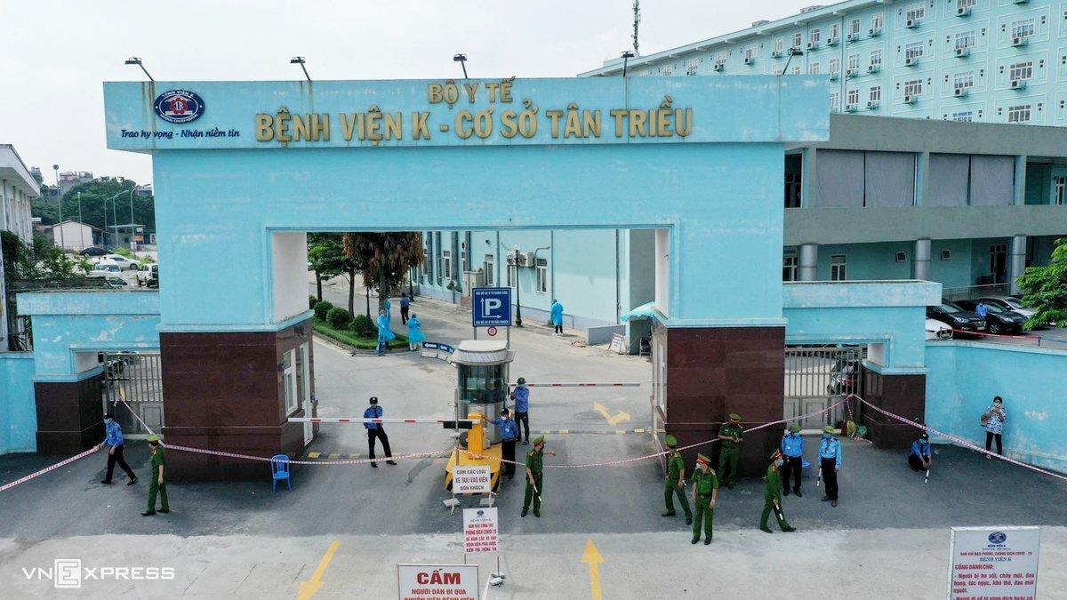 Bệnh viện K cơ sở Tân Triều bị phong tỏa từ sáng 7/5. Ảnh: Ngọc Thành