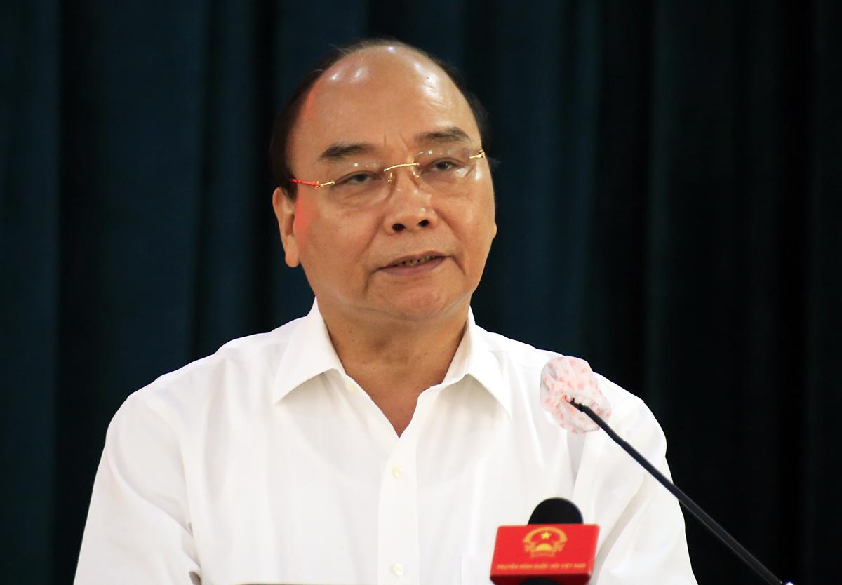 Chủ tịch nước Nguyễn Xuân Phúc phát biểu tại buổi tiếp xúc cử tri huyện Củ Chi sáng 9/5. Ảnh: Hữu Công.