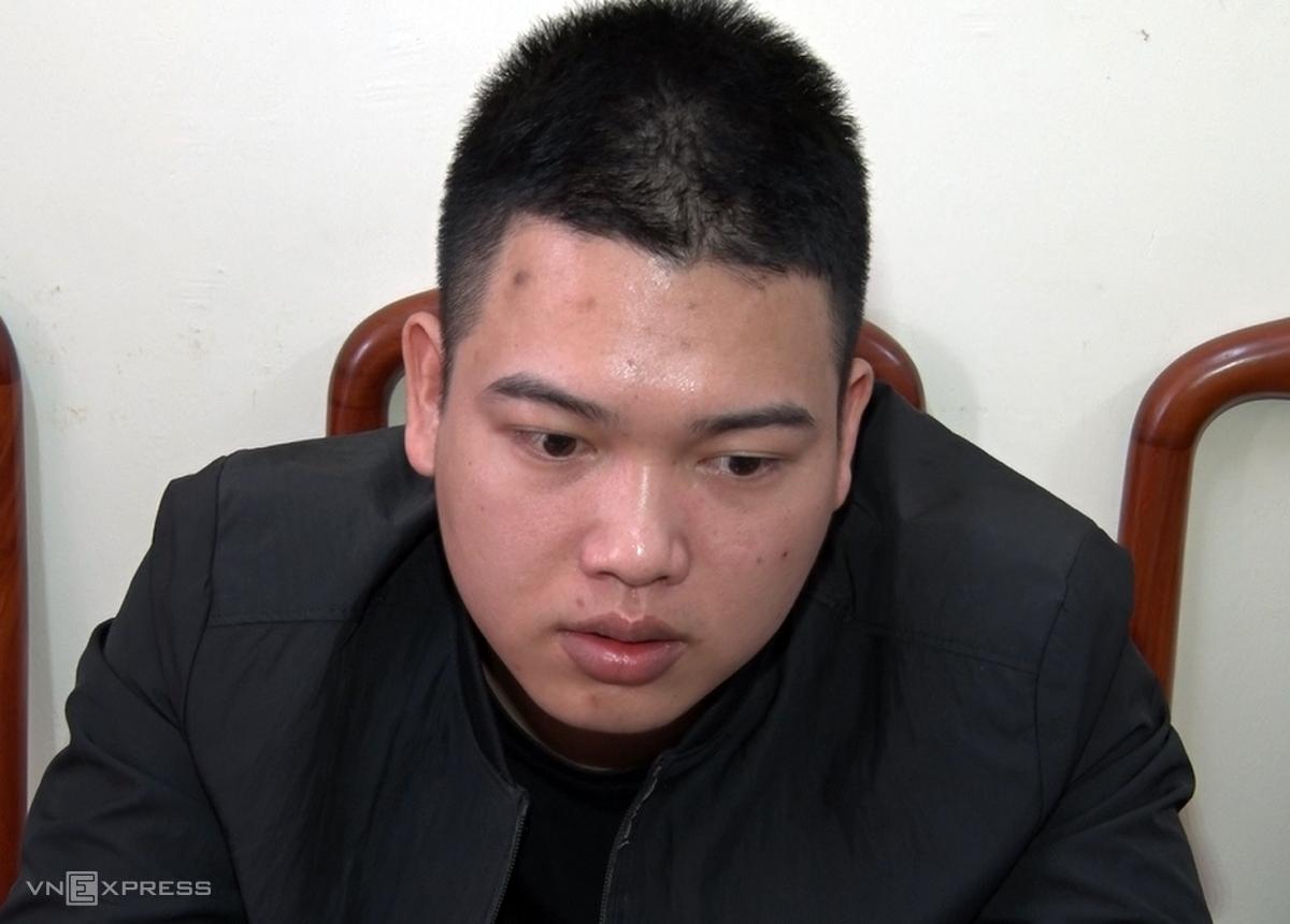 Trần Văn Lâm tại cơ quan điều tra. Ảnh: Công an cung cấp