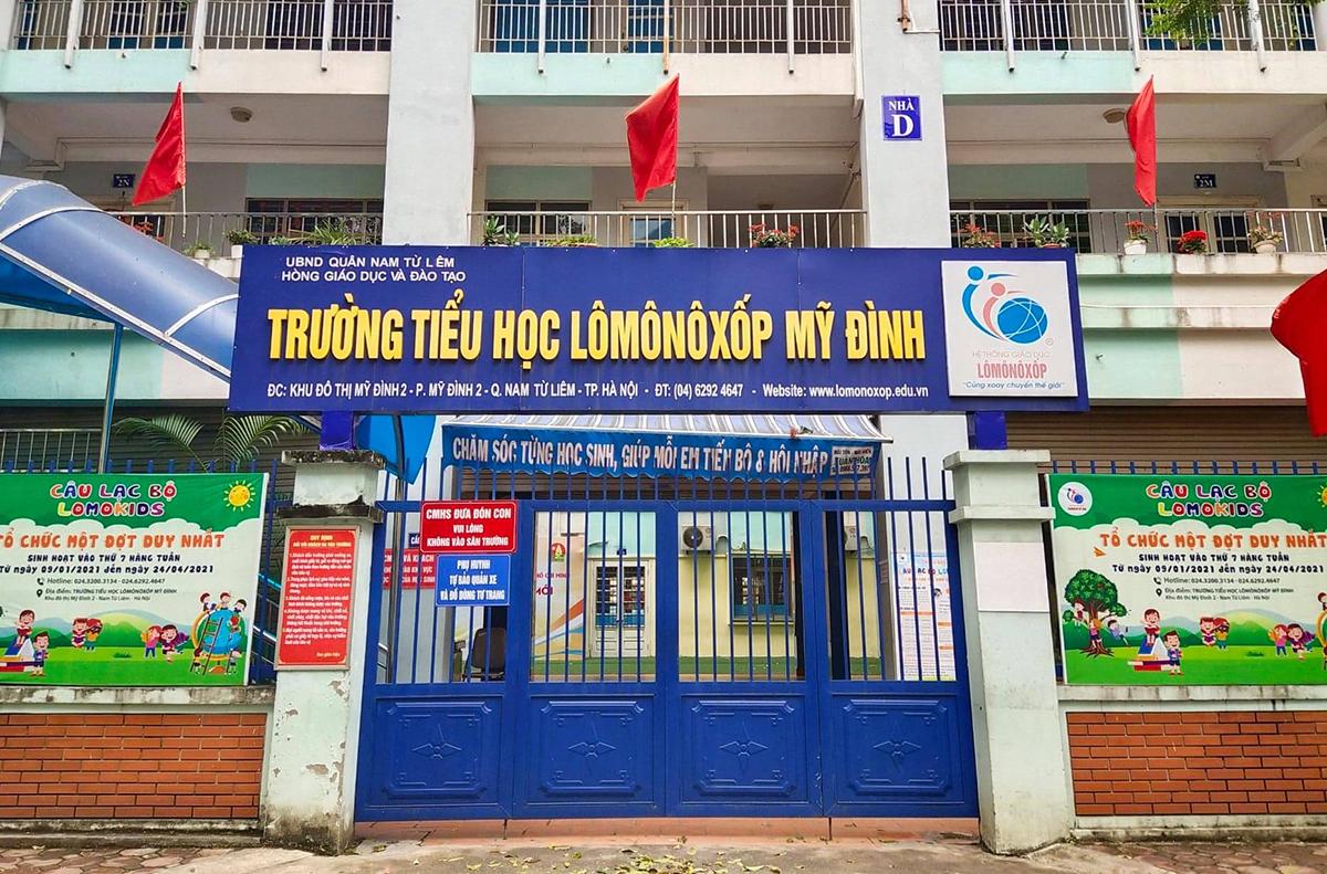 Trường Tiểu học Lômônôxốp Mỹ Đình (Nam Từ Liêm, Hà Nội) đóng cửa từ đợt nghĩ lễ 30/4-1/5 đến nay. Ảnh: Dương Tâm.