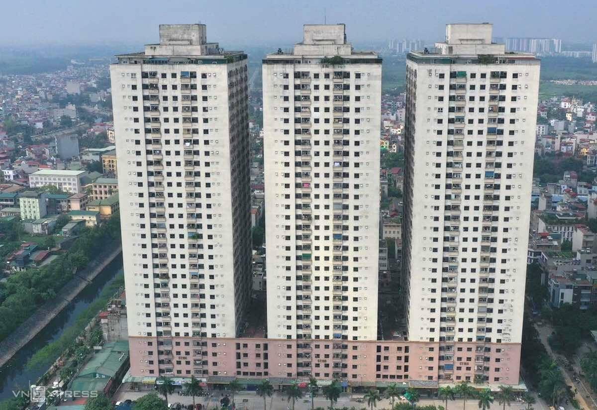 Tòa nhà C nằm ngoài cùng bên trái khu CT10, chung cư Đại Thanh. Ảnh: Ngọc Thành