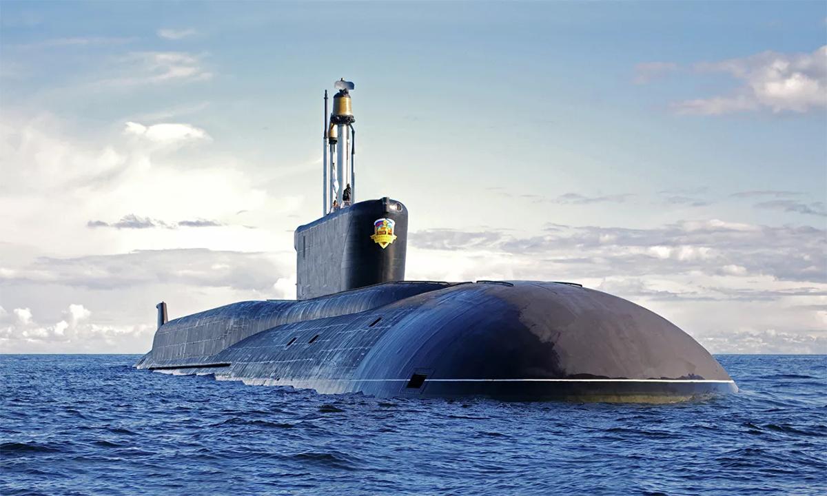 Tàu ngầm hạt nhân mang tên lửa đạn đạo Alexander Nevsky do Cục thiết kế Rubin phát triển. Ảnh: RIA Novosti.