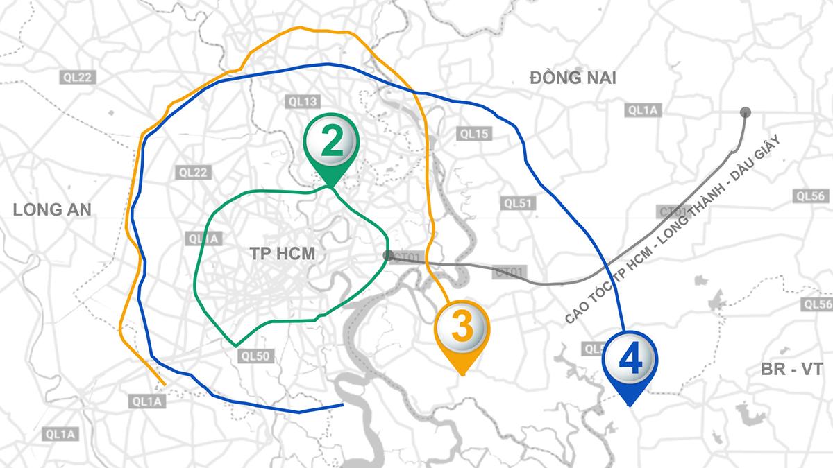 Ba tuyến vành đai bao quanh, giúp TP HCM kết nối với các địa phương. Đồ họa: Thanh Nhàn.