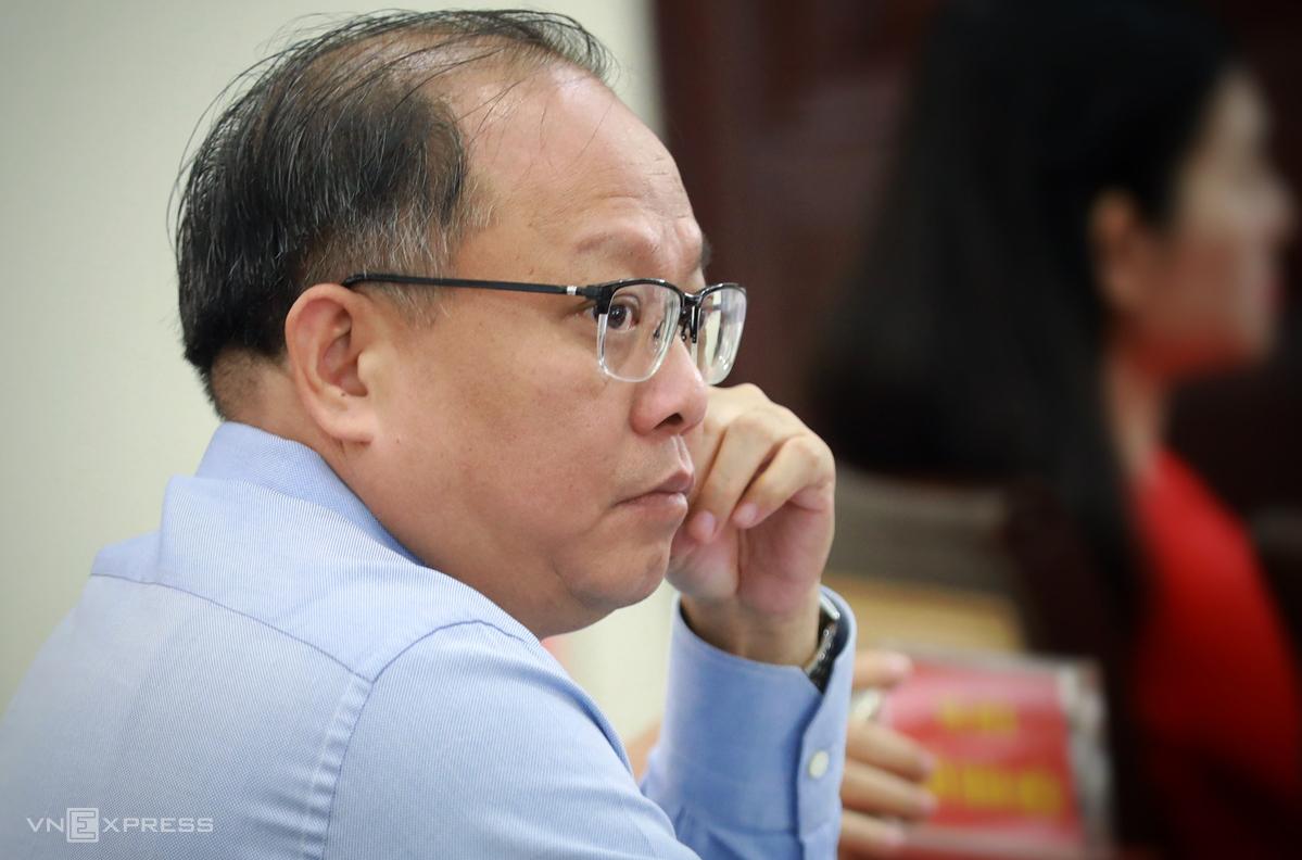 Ông Tất Thành Cang tại cuộc họp HĐND TP HCM hồi tháng 4/2019. Ảnh:Hữu Khoa.