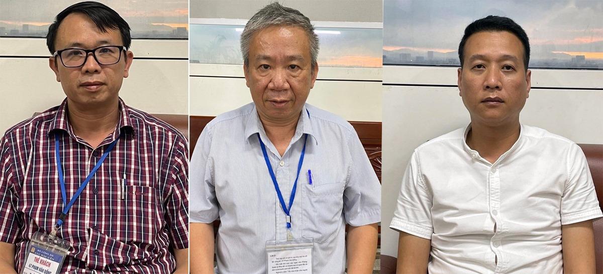 Từ trái qua, các bị can Trần Phú Hưng, Đoàn Trọng Bình và Nguyễn Hồng Dũng tại cơ quan điều tra. Ảnh: Bộ Công an