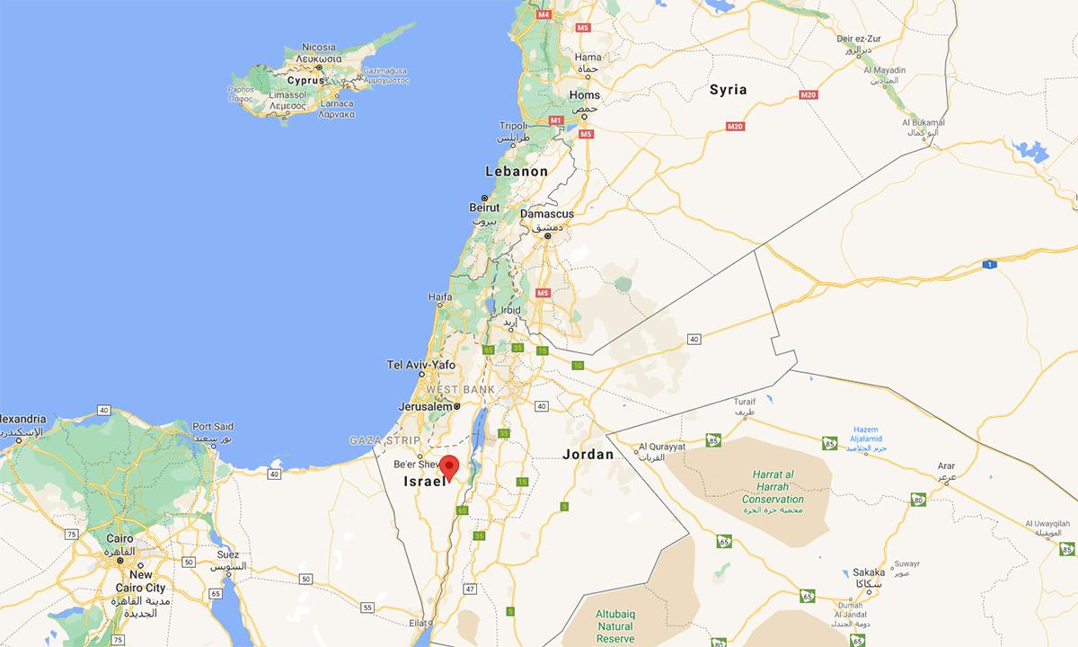 Vị trí cơ sở hạt nhân Shimon Peres Negev của Israel (đánh dấu đỏ). Đồ họa: Google.