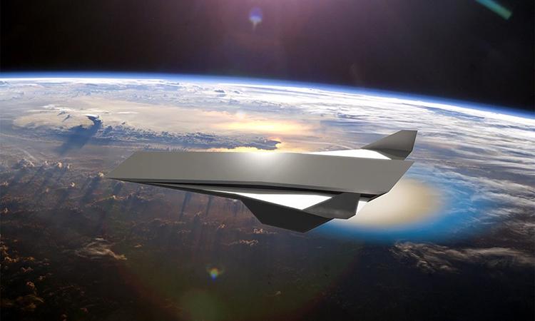 Mô phỏng tàu du hành không gian sử dụng động cơ siêu thanh dựa trên kích nổ. Ảnh: UCF.