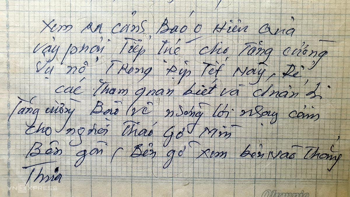 Nội dung thư gửi tới Trưởng công an phường 6, quận 3. Ảnh: Phòng Kỹ thuật hình sự - Công an TP HCM