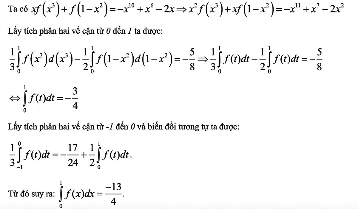 Bí quyết làm nguyên hàm - tích phân trong đề tốt nghiệp THPT - 4
