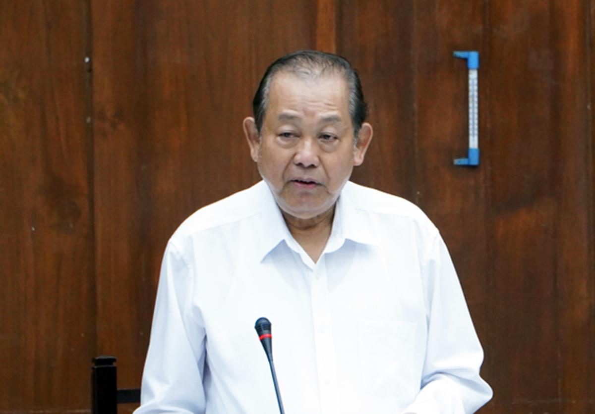 Phó thủ tướng thường trực Trương Hòa Bình chỉ đạo tại buổi làm việc. Ảnh: Gia Minh.