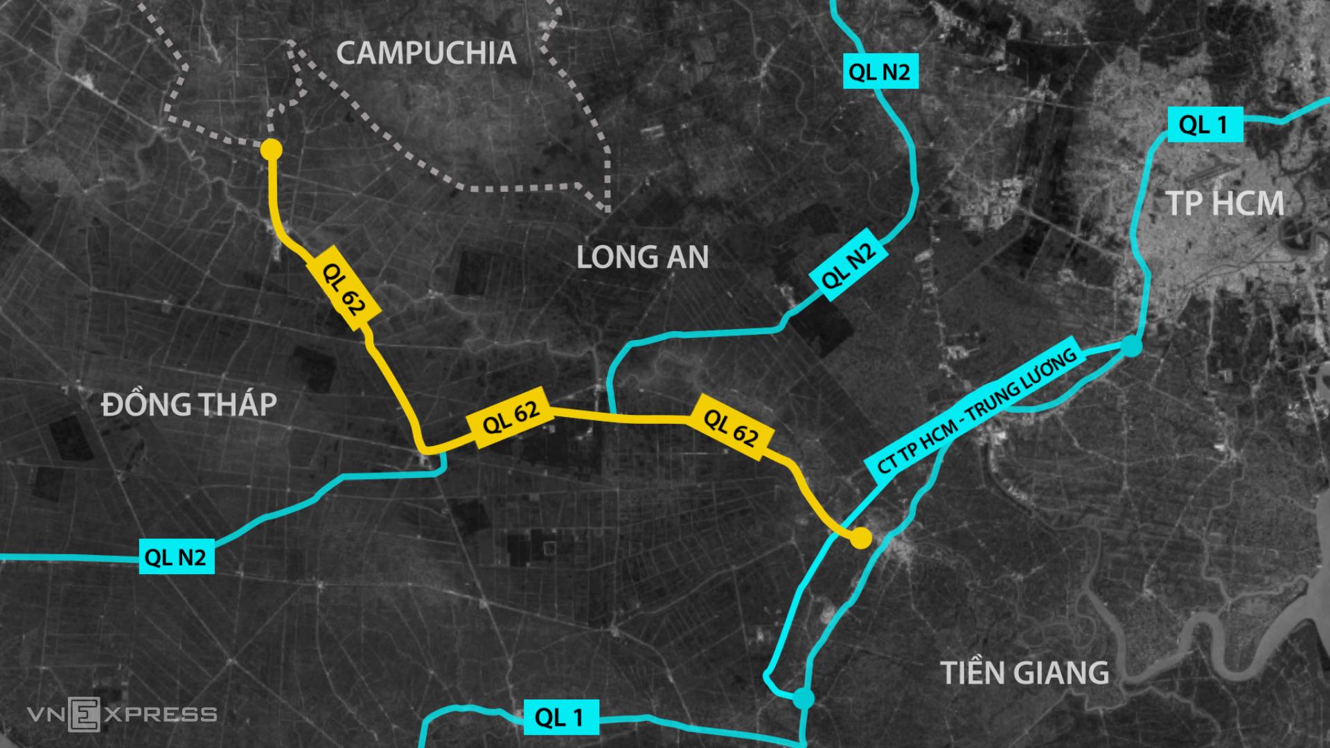 Quốc lộ 62 là tuyến đường kết nối cao tốc TP HCM - Trung Lương, quốc lộ 1 và quốc lộ N2. Đồ họa: Thanh Nhàn