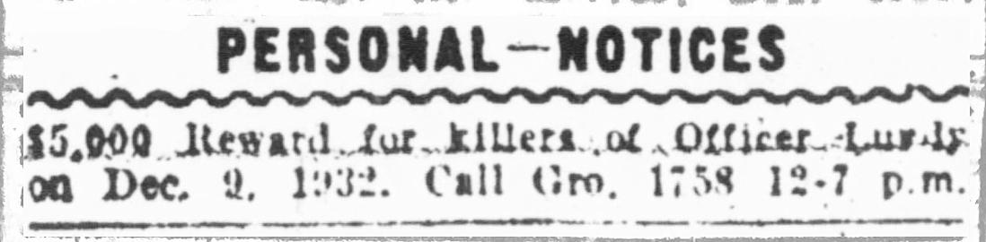 Mẩu tin rao vặt của mẹ Joseph đặt trên Chicago Times ngày truy tìm hung thủ giết viên cảnh sát, xuất hiện trên Chicago Times ngày 10/10/1944. Ảnh: Chicagology.