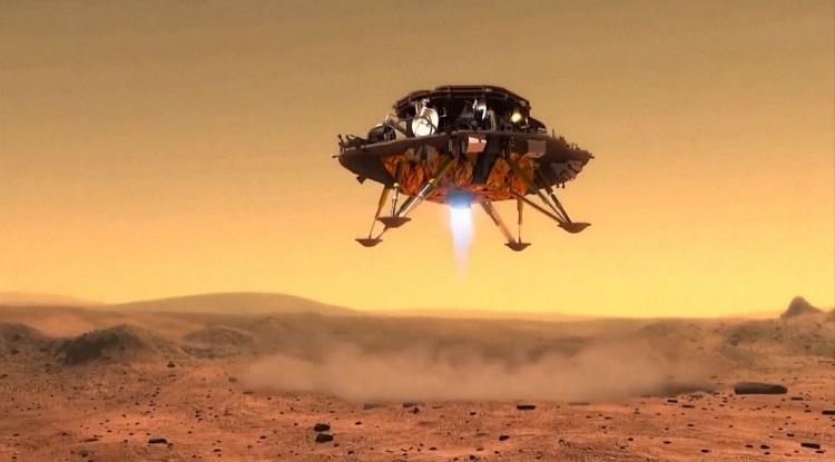 Tàu Chúc Dung hạ cánh xuống sao Hỏa sáng 15/5. Ảnh: CNSA.