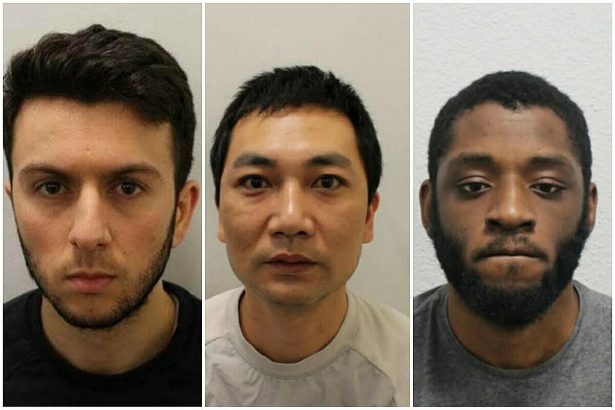 Từ trái qua: Ayman Touhami, Huang và Clarke khi bị bắt. Ảnh: Metropolitan Police