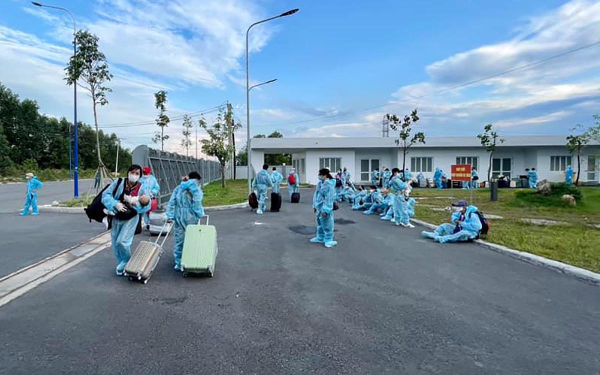 Khu cách ly y tế huyện Bàu Bàng trong một lần đón công dân Việt Nam trở về từ nước ngoài. Ảnh: Trung tâm Y tế Bàu Bàng