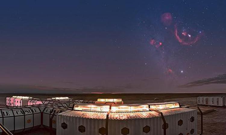 Một cảnh quan ở thị trấn Lenghu, nơi lắp đặt kính thiên văn mới của Trung Quốc. Ảnh: Xinhua.