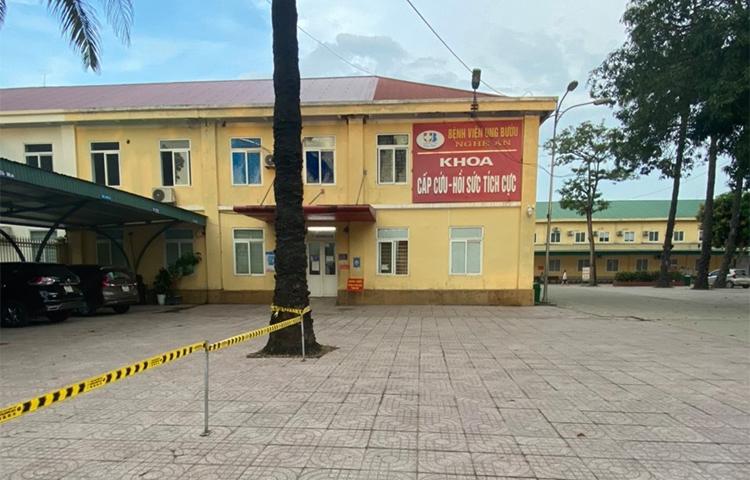 Khu vực khoa cấp cứu -  hồi sức bệnh viện Ung bướu Nghệ An đang phong tỏa. Ảnh: CTV