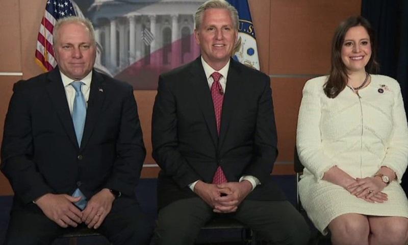 Từ trái qua phải: Steve Scalise, Kevin McCarthy và Elise Stefanik trong cuộc phỏng vấn chung hôm 15/5. Ảnh: Fox.