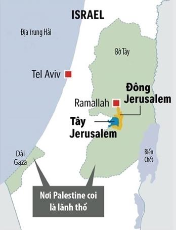 Vị trí Dải Gaza và Jerusalem. Đồ họa: Straits Times.