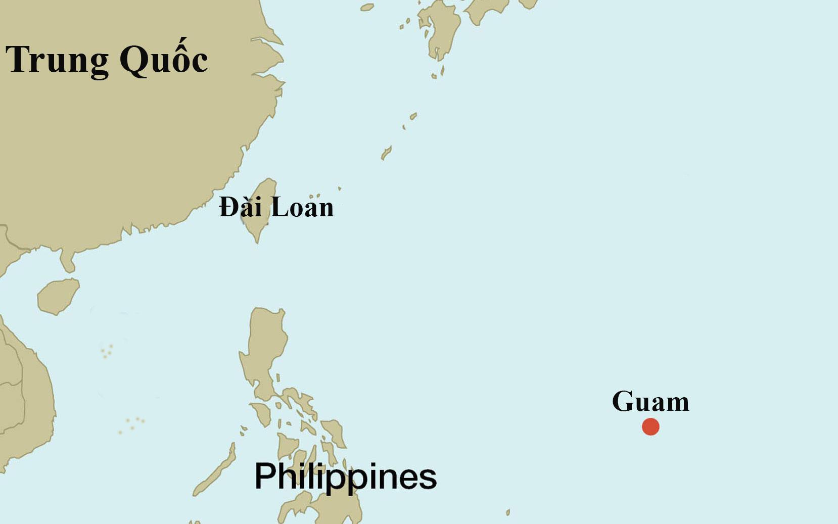 Vị trí đảo Guam của Mỹ và đảo Đài Loan. Đồ họa: Haaretz.