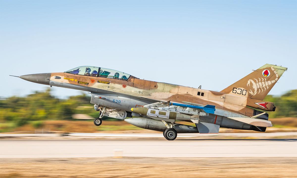 Tiêm kích F-16I của Israel xuất kích ngày 12/5 để tấn công mục tiêu của Hamas tại Dải Gaza. Ảnh: AFP.