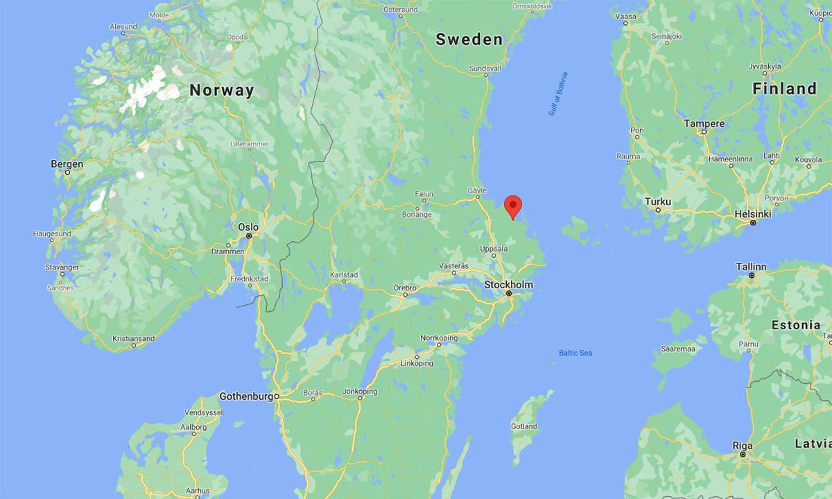 Vị trí thị trấn Forsmark (đánh dấu đỏ) của Thụy Điển. Đồ họa: Google.