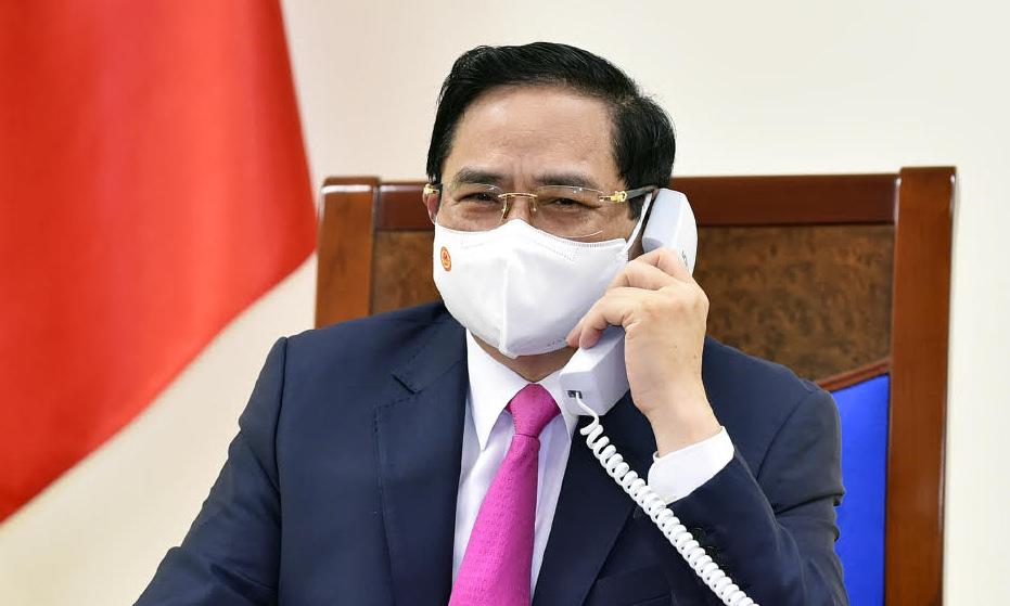 Thủ tướng Phạm Minh Chính trong cuộc điện đàm hôm nay. Ảnh: BNG.