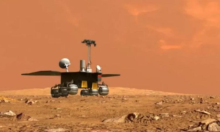 Mô phỏng robot Chúc Dung lăn bánh trên sao Hỏa. Ảnh: CNSA.