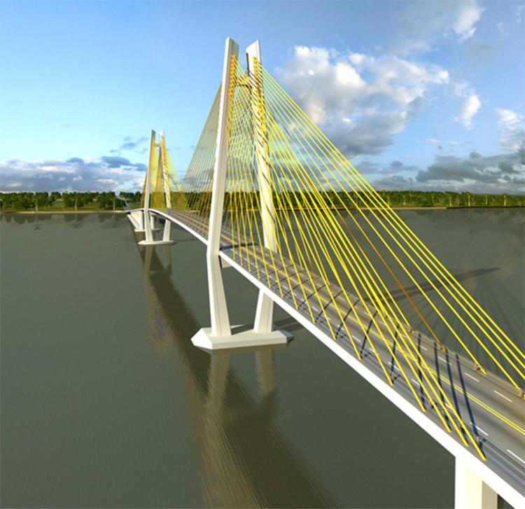Mô hình cầu Rạch Miễu 2. Ảnh:  Ban Quản lý dự án Mỹ Thuận