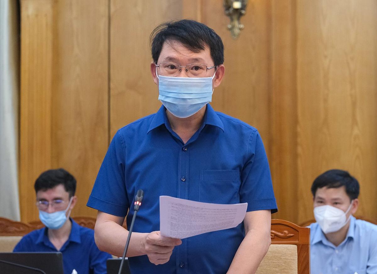 Ông Lê Ánh Dương, Chủ tịch UBND tỉnh Bắc Giang trong phiên họp với Ban chỉ đạo quốc gia phòng chống Covid-19, chiều 16/5. Ảnh: MOH