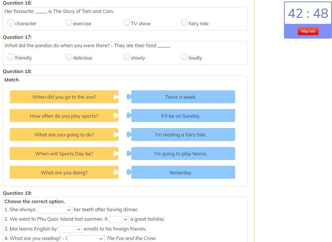 Một phần của đề thi tiếng Anh dành cho học sinh THPT trên Olm.vn.