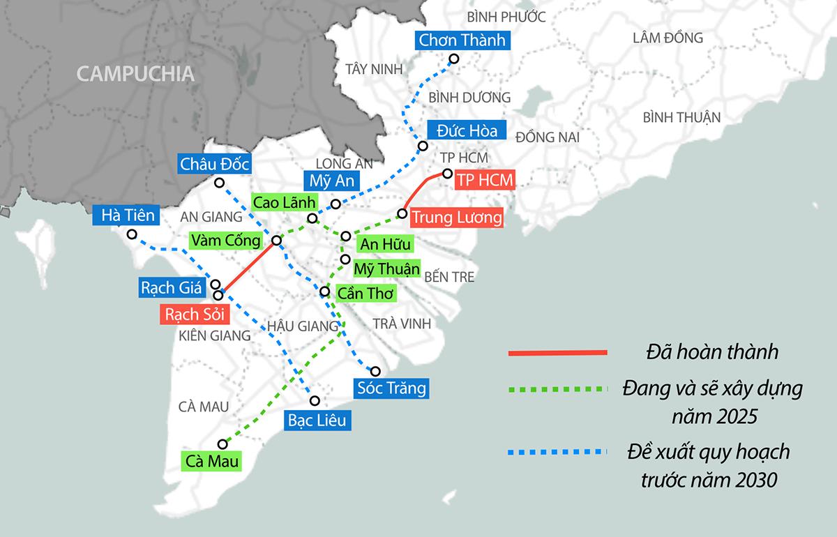 Hai tuyến cao tốc Mỹ An - Cao Lãnh và An Hữu - Cao Lãnh sẽ kết nối với các dự án khác để hình thành tuyến cao tốc Bắc - Nam phía Đông và phía Tây ở Đồng bằng sông Cửu Long. Đồ họa: Tạ Lư