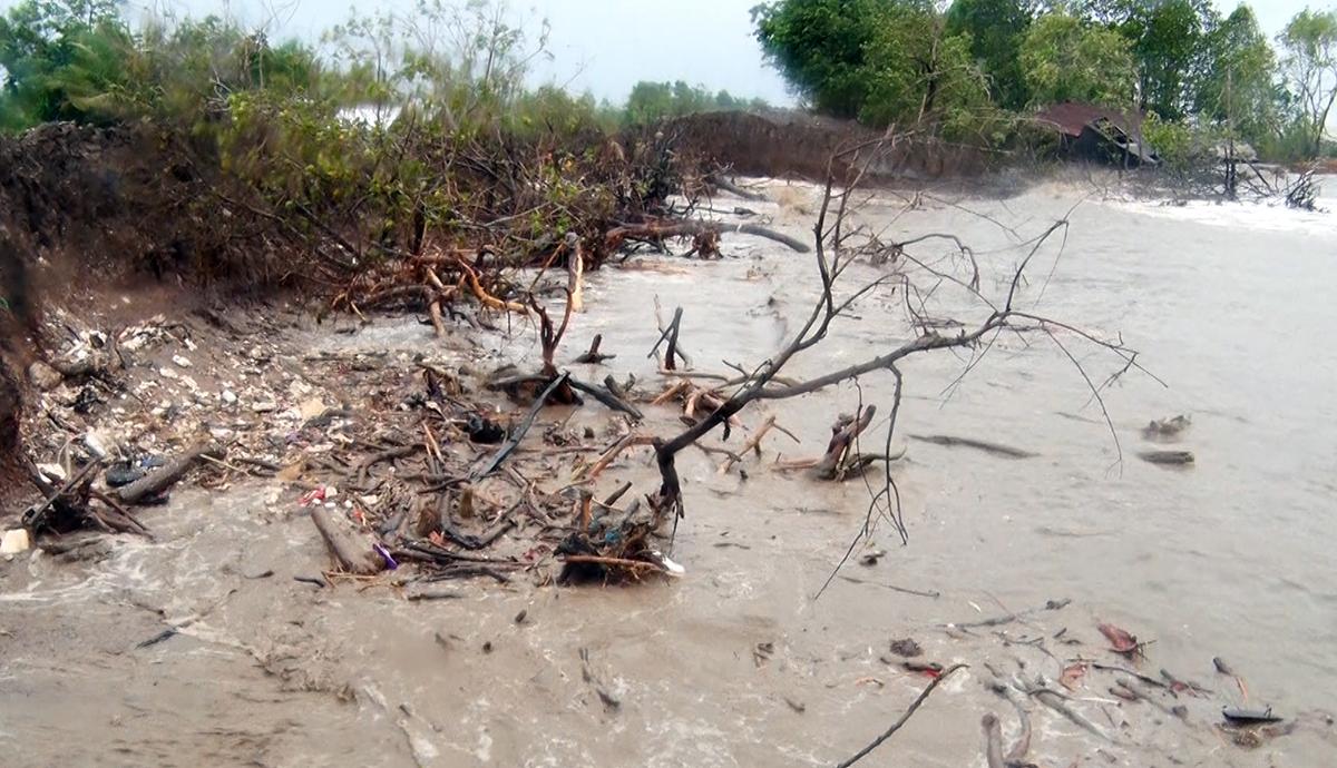 Một đoạn bờ biển Tây tại huyện An Minh, tỉnh Kiện Giang bị sóng biển tàn phá. Ảnh: Nguyễn Phương