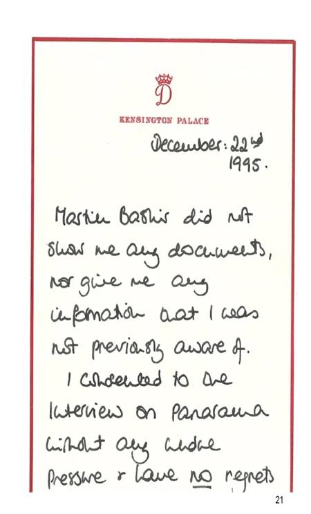 Bức thư tay do Công nương Diana viết, trong đó bà nói không hối tiếc khi tham gia cuộc phỏng vấn với BBC. Ảnh: PA Media.