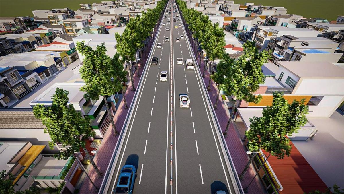 Phối cảnh đường trên cao theo trục bắc nam khi hoàn thành. Ảnh: Công ty CII.