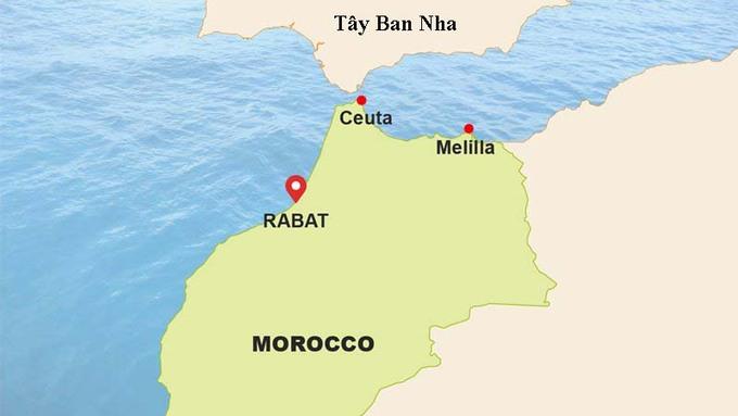 Vị trí Ceuta. Đồ họa: The New Humanitarian.