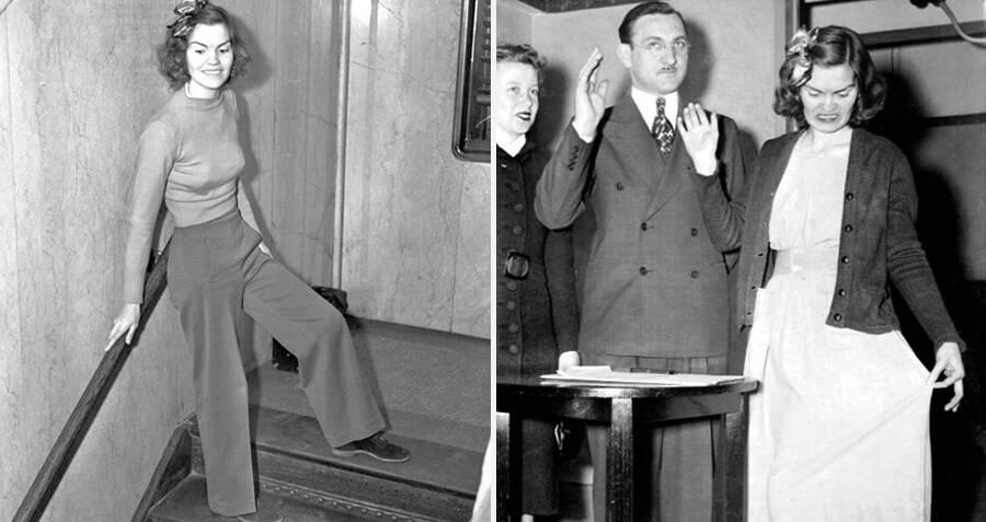 Helen mặc áo thun và quần trong phiên toà đầu tiên (trái) và trong trang phục trang trọng tới phiên toà thứ tư, đầu năm 1939. Ảnh: Allthatinteresting