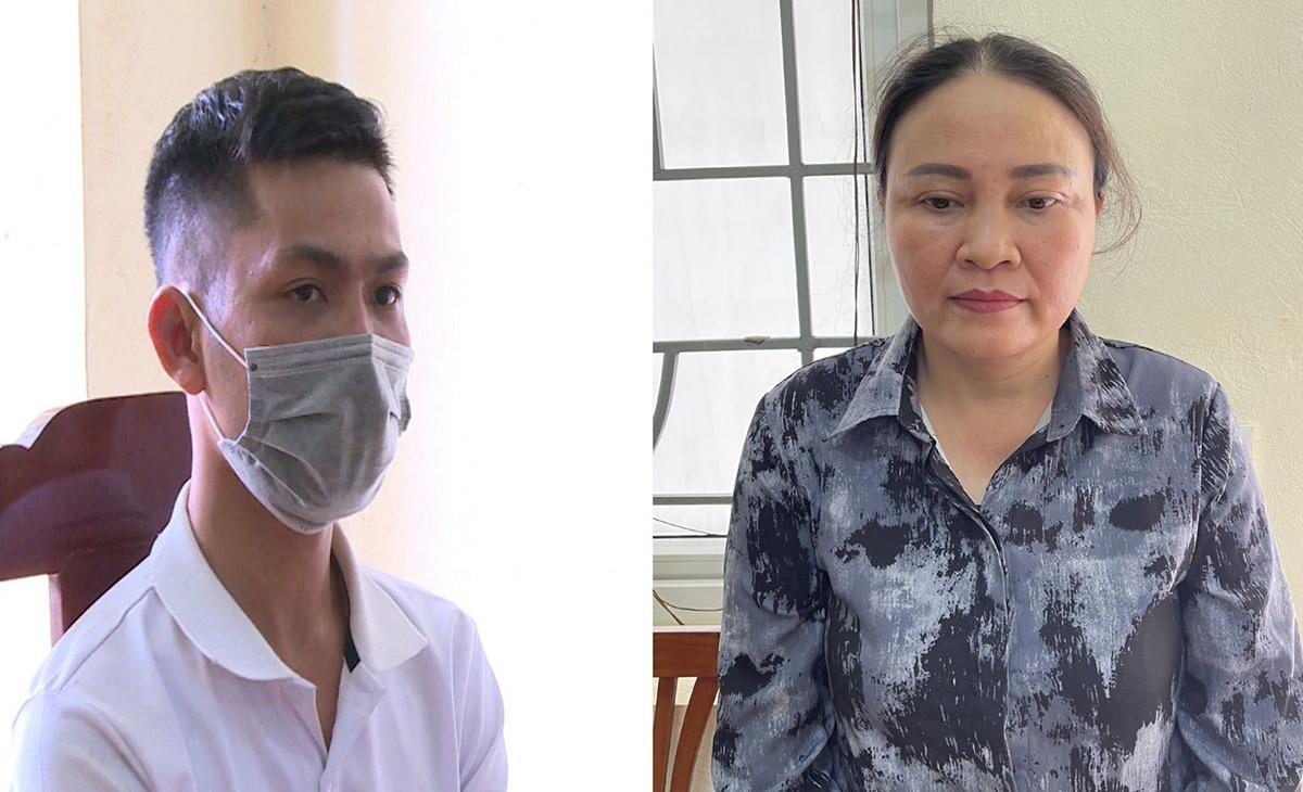 Lê Thị Lan và Dương Khắc Hùng đang bị tạm giữ. Ảnh: Lam Sơn.
