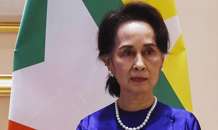 Cố vấn Nhà nước Myanmar Aung San Suu Kyi tại Phủ tổng thống ở thủ đô Naypyidaw tháng 1/2020. Ảnh: AFP.