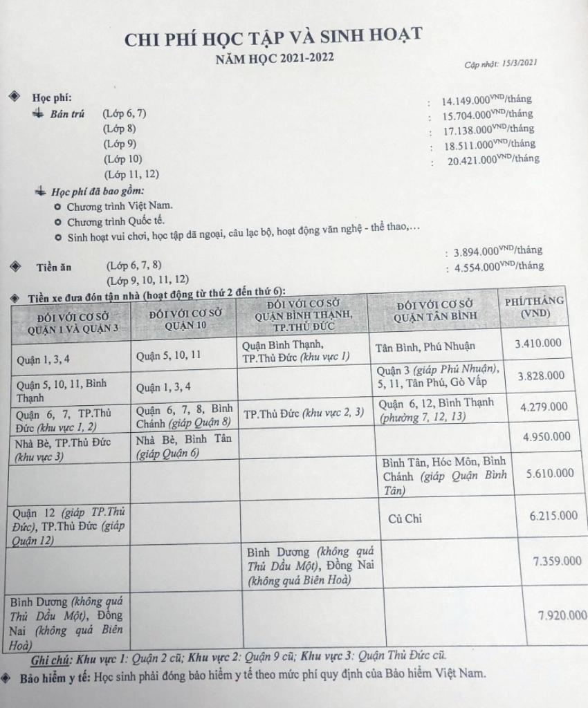 Thông báo học phí năm học 2021-2022 được trường Quốc tế Á Châu gửi đến phụ huynh hồi giữa tháng 5. Ảnh: Phụ huynh cung cấp.