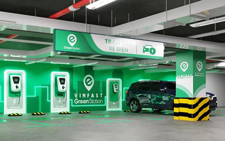 Một trạm sạc ôtô điện VinFast.