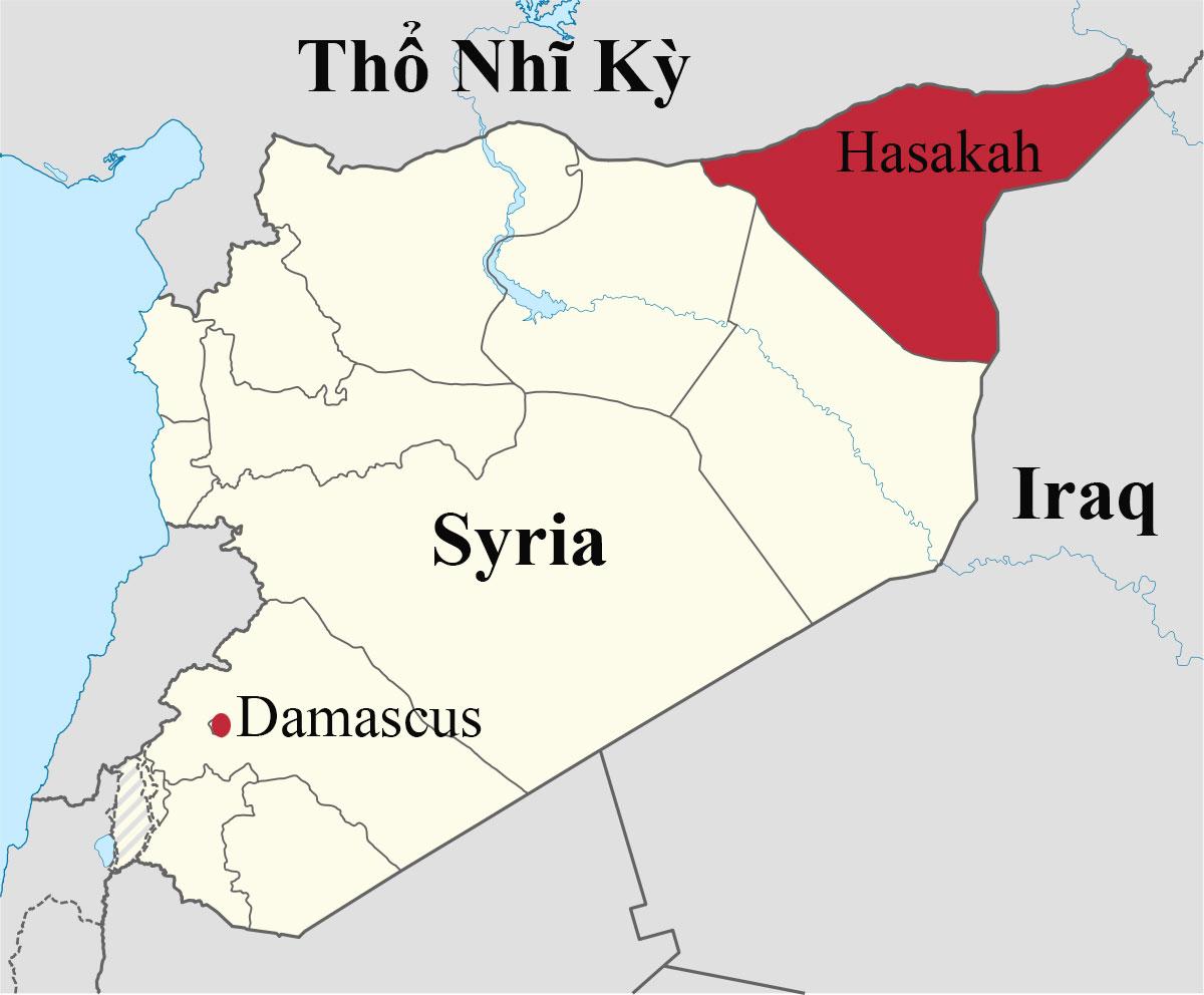 Vị trí tỉnh Hasakah ở đông bắc Syria. Đồ họa: Wikipedia.