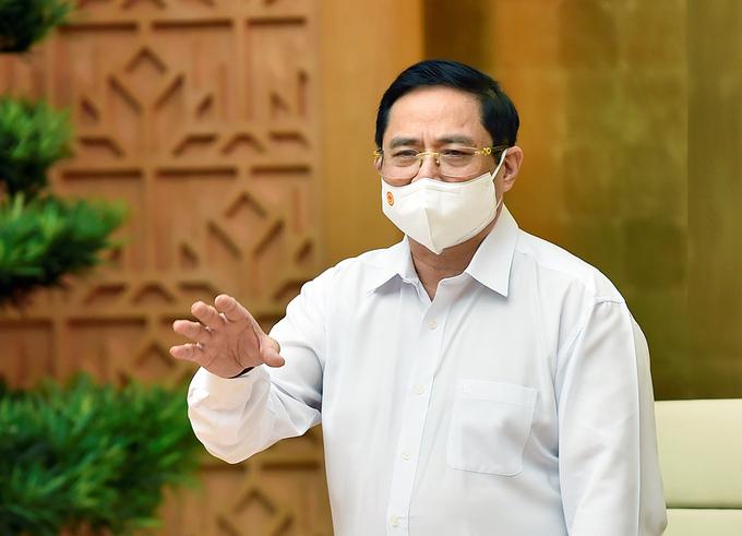 Thủ tướng Phạm Minh Chính chủ trì họp trực tuyến khẩn với Bắc Giang, Bắc Ninh về phòng chống Covid-19, sáng 26/5. Ảnh: Nhật Bắc