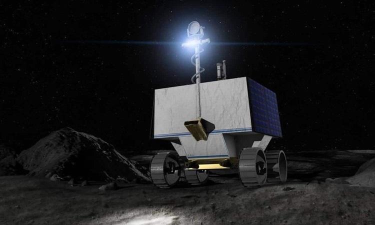 Mô phỏng robot VIPER hoạt động ở vùng tối của Mặt Trăng. Ảnh: NASA.