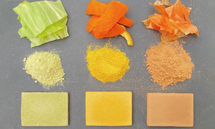 Các loại bột nghiền từ rác thải thực phẩm được ép thành vật liệu xây dựng. Ảnh: Đại học Tokyo.